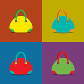 Women Bags on Colorful Background — Stock Vector