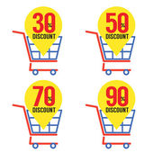 Set Of Shopping Basket Discount — Stock Vector