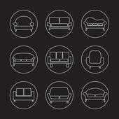 Sofa Icons — Stock Vector