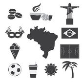 Brazil Tourist Attraction Icons Set — Stock Vector