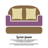Vintage Brown Sofa Vector Illustration — Stockvektor