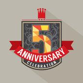 5 Years Anniversary Badge Design — Stock Vector