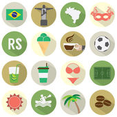 Flat Design Brazil Icons Set — ストックベクタ