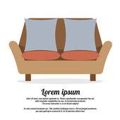 Vintage Two Seat Sofa Vector Illustration — Stockvektor