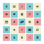Square Flat Website Vector Icons Set — Stock Vector