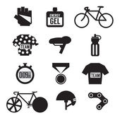 Set of Bicycle and Accessories Vector Illustration — Vector de stock