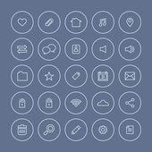 Round  Line  Website Vector Icons Set  — Stockvektor