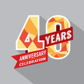 40th Year Anniversary Celebration Design — Stock Vector