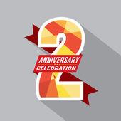 2th Years Anniversary Celebration Design — Stock Vector