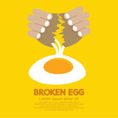 Broken Egg In Hand Vector Illustration — Stock Vector