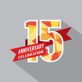15th Years Anniversary Celebration Design — Stock Vector