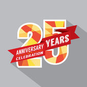 25th Years Anniversary Celebration Design — Stock Vector