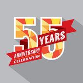 55e ans anniversaire célébration design — Vecteur