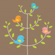 Bird's Family On A Tree Vector Illustration — Stock Vector #48313917