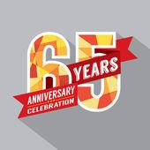 Diseño de celebración de aniversario de 65 años — Vector de stock