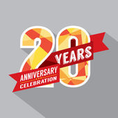 20th Years Anniversary Celebration Design — Vector de stock