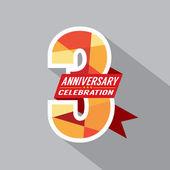 3rd Years Anniversary Celebration Design — Stock Vector