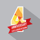 4th Years Anniversary Celebration Design — Stock Vector