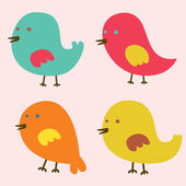 Set of Lovely Birds Vector Illustration — Stock Vector