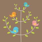 Bird's Family On A Tree Vector Illustration — Stock Vector
