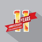 11 ans anniversaire célébration design — Vecteur