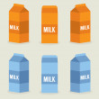 Milk Boxes Collection Vector Illustration — Stockvektor
