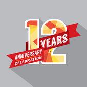 12th Years Anniversary Celebration Design — Stock Vector