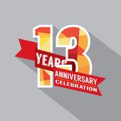 13th Years Anniversary Celebration Design — Stock Vector