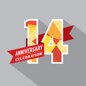14th Years Anniversary Celebration Design — Vector de stock