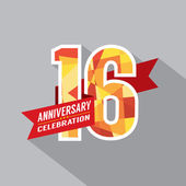 16th Years Anniversary Celebration Design — Stock Vector