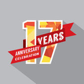 17 yıl yıldönümü kutlama tasarım — Stok Vektör