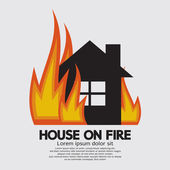 House On Fire Vector Illustration — Stock Vector