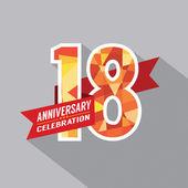 18th Years Anniversary Celebration Design — Stock Vector