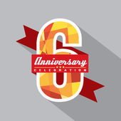 6: e år anniversary celebration design — Stockvektor