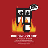 Building On Fire Vector Illustration — Stock Vector