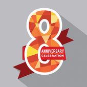 8th Years Anniversary Celebration Design — Stock Vector