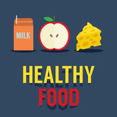 Flat Design Healthy Food Vector Illustration — Vecteur