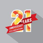 21th Years Anniversary Celebration Design — Stock Vector
