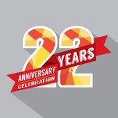22nd Years Anniversary Celebration Design — Stock Vector