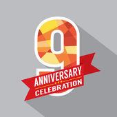 9th Years Anniversary Celebration Design — Stock Vector