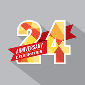 24th Years Anniversary Celebration Design — Stock Vector
