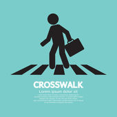 Crosswalk Graphic Sign Vector Illustration — Stock Vector