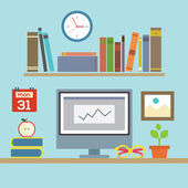 Flat Design Workplace Vector Illustration — Stock vektor