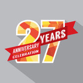 27th Years Anniversary Celebration Design — Stock Vector