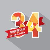34th Years Anniversary Celebration Design — Stock Vector