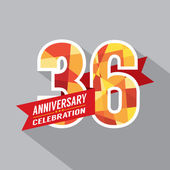36th Years Anniversary Celebration Design — Stock Vector