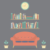 Modern Design Interior Sofa And Bookshelves  — Stock Vector