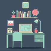 Flat Design Workplace Vector Illustration — Stock Vector