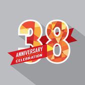 38th Years Anniversary Celebration Design — Stock Vector