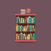 Flat Design Book Cabinet Vector Illustration — ストックベクタ